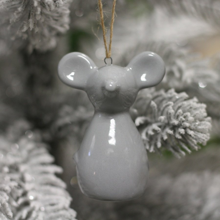 HANGING CERAMIC GREY MOUSE, 6.5CM