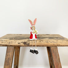 Load image into Gallery viewer, Sitting Santa Rabbit With Present