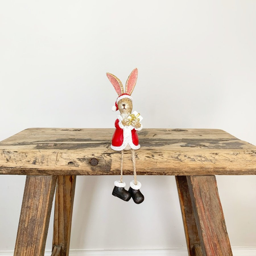 Sitting Santa Rabbit With Present