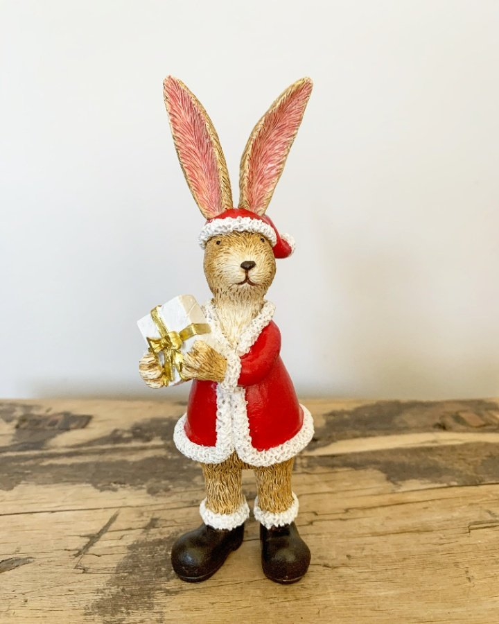 Standing Santa Rabbit With Present