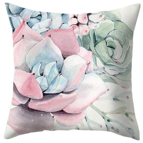 Succulent floral cushion