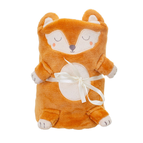 Woodland Fox Soft Fleece Baby Blanket