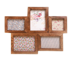 Five Multi Photo Frame Dark Wood Effect