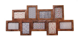 Nine Multi Photo Frame Dark Wood Effect