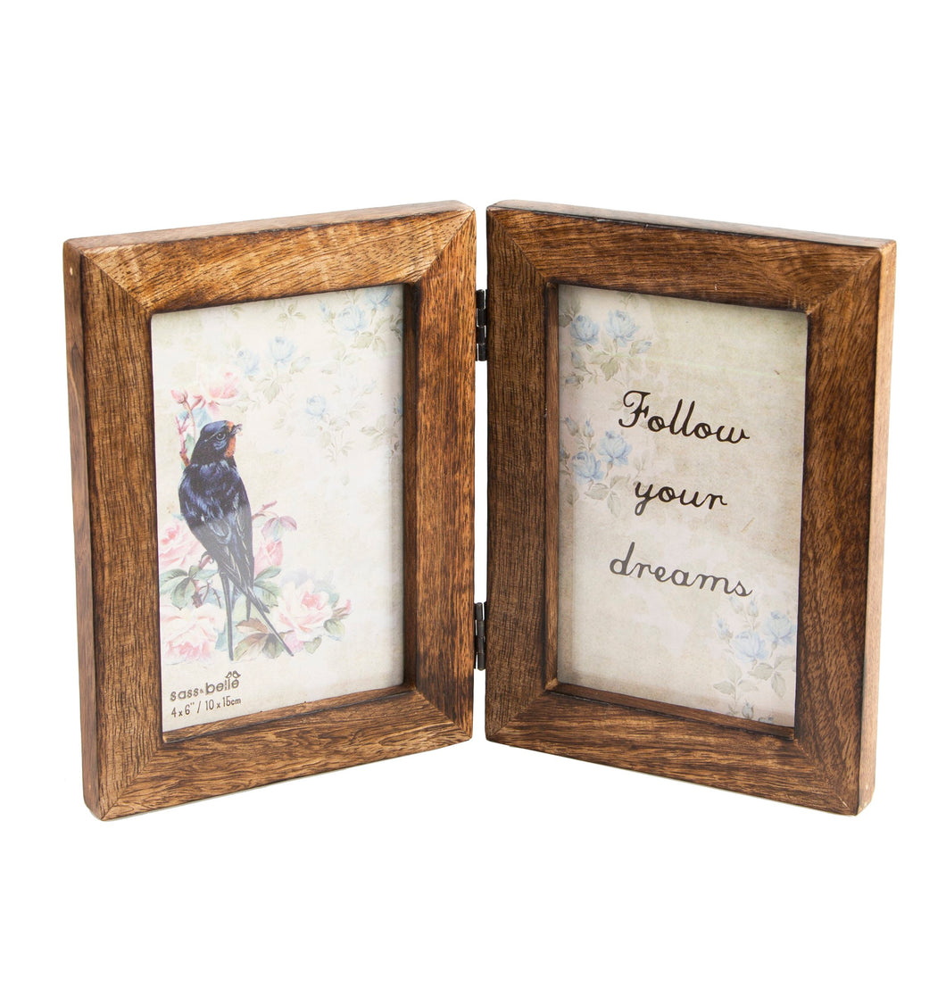 Double Rustic Wood Photo Frame - Dark Wood