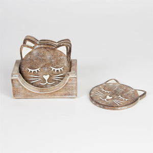 Carved Cat Coasters Set Of 6