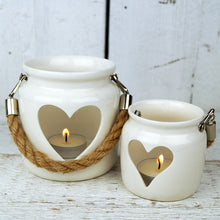 White Porcelain Tea Light Holders with Rope Handles
