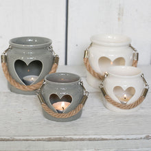 Porcelain Tea Light Holders with Rope Handles