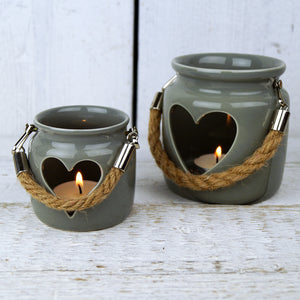 Grey Porcelain Tea Light Holders with Rope Handles