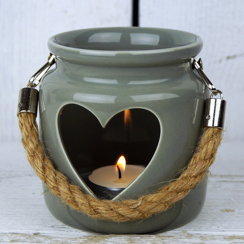 Grey Porcelain Tea Light Holder with Rope Handle