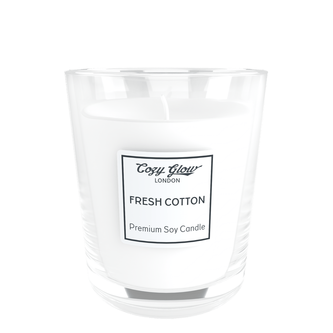 Cozy Glow Fresh Cotton Premium Soy Candle