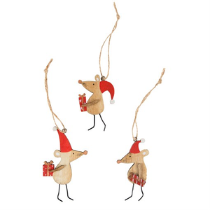 Christmas Mice Wooden Hanging Decoration Assorted