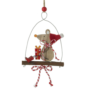 Hanging Wooden Xmas Mouse On Swing
