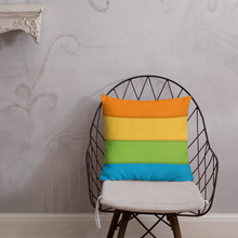 "Load image into Gallery viewer, Cozy Glow Pride Rainbow Background 18"" x 18"" Premium Pillow"