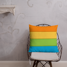 "Load image into Gallery viewer, Cozy Glow Pride Rainbow Background 22"" x 22"" Premium Pillow"