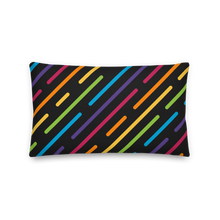 "Load image into Gallery viewer, Cozy Glow Pride Rainbow Line Dash 20"" x 12"" Premium Pillow"