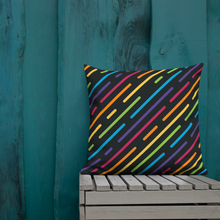 "Load image into Gallery viewer, Cozy Glow Pride Rainbow Line Dash 22"" x 22"" Premium Pillow"