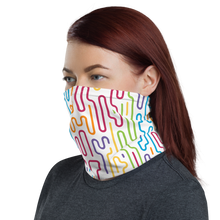 Load image into Gallery viewer, Cozy Glow Pride Rainbow Curve Line Dash White Neck Gaiter