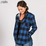 Women's Lined Flannel Shirt Jacket - Blue Plaid