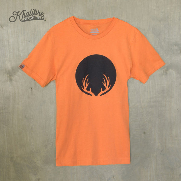 Men's Deer Antlers Cotton T-Shirt - Burnt Orange