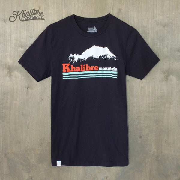 Men's Retro Mountain Cotton Black T-Shirt