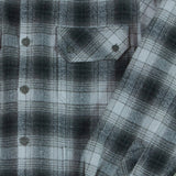 Men's Black Plaid Flannel Shirt Detail