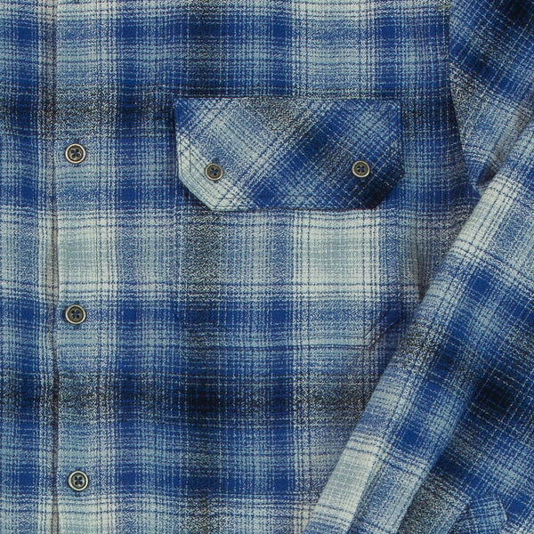 Men's Blue Plaid Flannel Shirt Detail