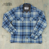 Men's Cotton Lined Flannel Shirt Jacket - Blue Plaid / Graphite Lining