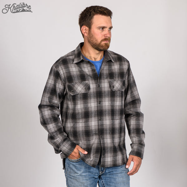 Men's Lined Flannel Shirt Jacket - Black Plaid
