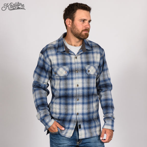 Men's Lined Flannel Shirt Jacket - Blue Plaid