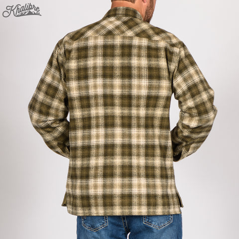 Men's Lined Flannel Shirt Jacket - Green Plaid