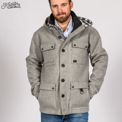 Men's Virgin Wool Mountain Coat in Medium Gray
