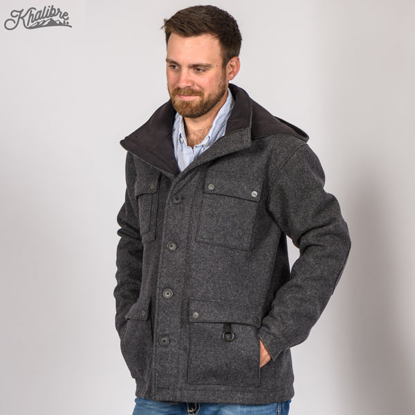 Men's Virgin Wool Mountain Coat in Dark Gray