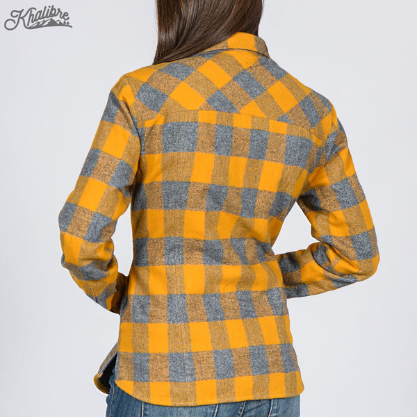 Women's Lined Flannel Shirt Jacket - Yellow Plaid