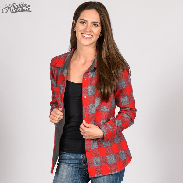 Women's Lined Flannel Shirt Jacket - Red Plaid