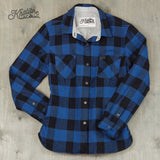 Women's Cotton Lined Flannel Shirt Jacket - Blue Plaid / Cloud Lining