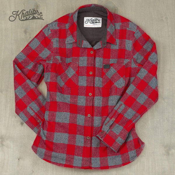 Women's Cotton Lined Flannel Shirt Jacket - Red Plaid / Graphite Lining