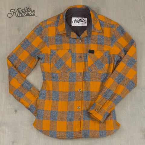 Women's Cotton Lined Flannel Shirt Jacket - Yellow Plaid / Graphite Lining