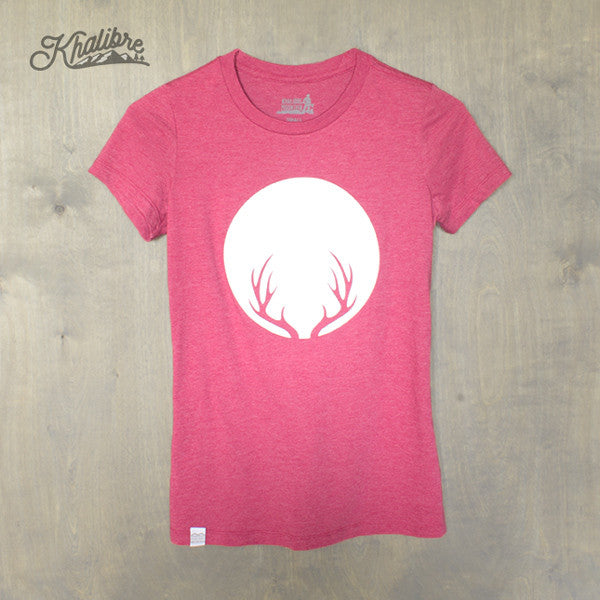 Women's Deer Antlers Cotton T-Shirt - Heather Raspberry