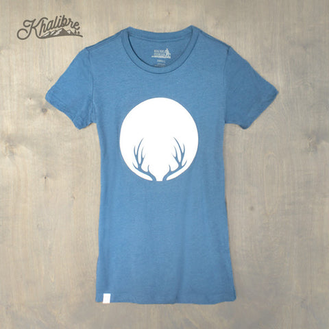 Women's Deer Antlers Cotton T-Shirt - Steel Blue