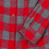 Khalibre Mountain Women's Red Plaid Flannel Shirt Detail
