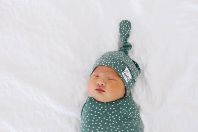 Newborn Top Knot Hat - Juniper
