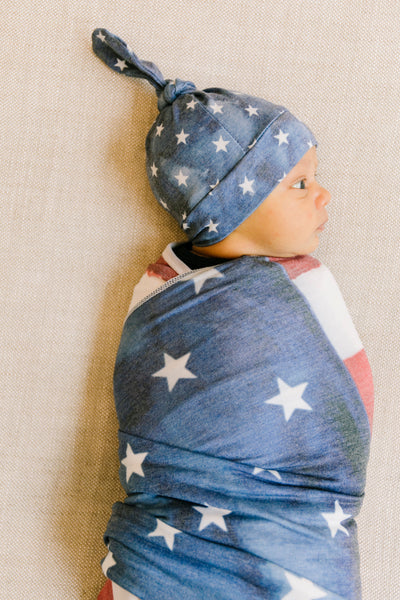 Newborn Top Knot Hat - Patriot