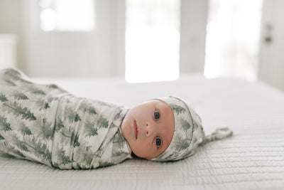 Newborn Top Knot Hat - Evergreen