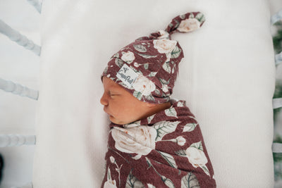 Newborn Top Knot Hat - Scarlet