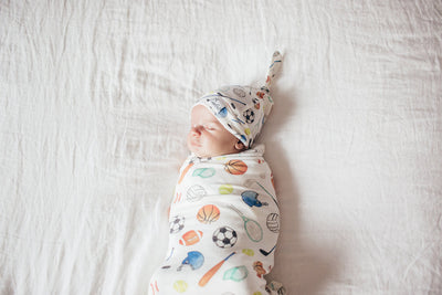 Newborn Top Knot Hat - Varsity