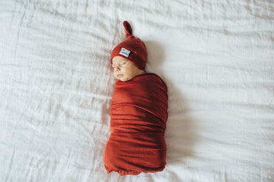 Newborn Top Knot Hat - Rust