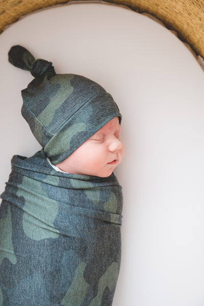 Newborn Top Knot Hat - Hunter