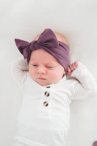 Knit Headband Bow - Plum