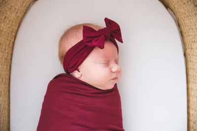 Knit Headband Bow - Ruby